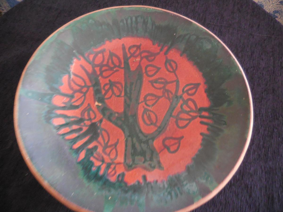 Grand Plat Faience Vallauris Vers 1950 L 'arbre De Vie45cm