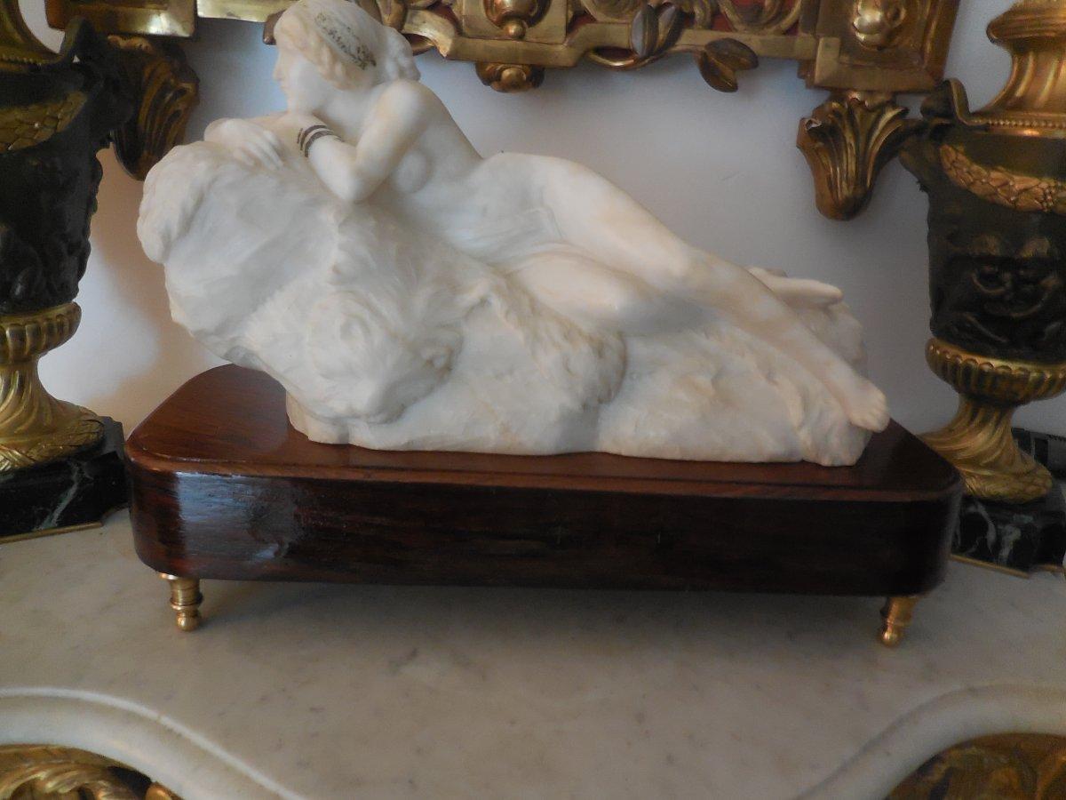 """Sculpture White Marble Odalisque Signed Gambogi"""" Anthinéa""""c .1900"""