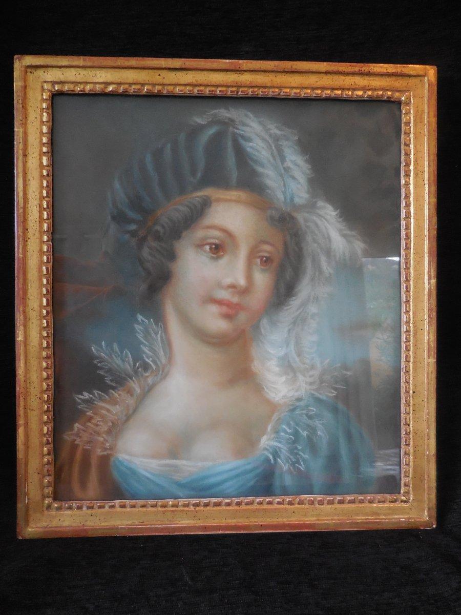 Portrait Of An Elegant Pastel Plumet Empire Time Early Nineteenth