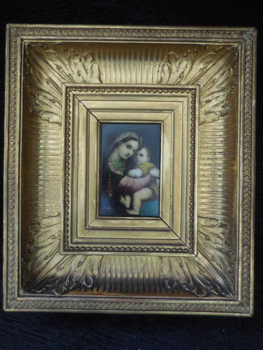 Huile Sur Panneau La Vierge à La Chaise époque XIXe Siècle Cadre