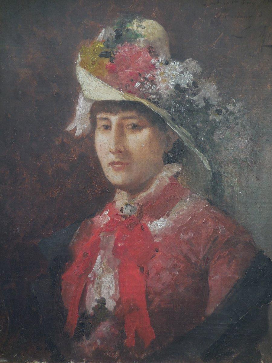 Oil On Canvas French School XIX E Century; Portrait Of Madame De V ... In Hat Sg Apret-photo-2