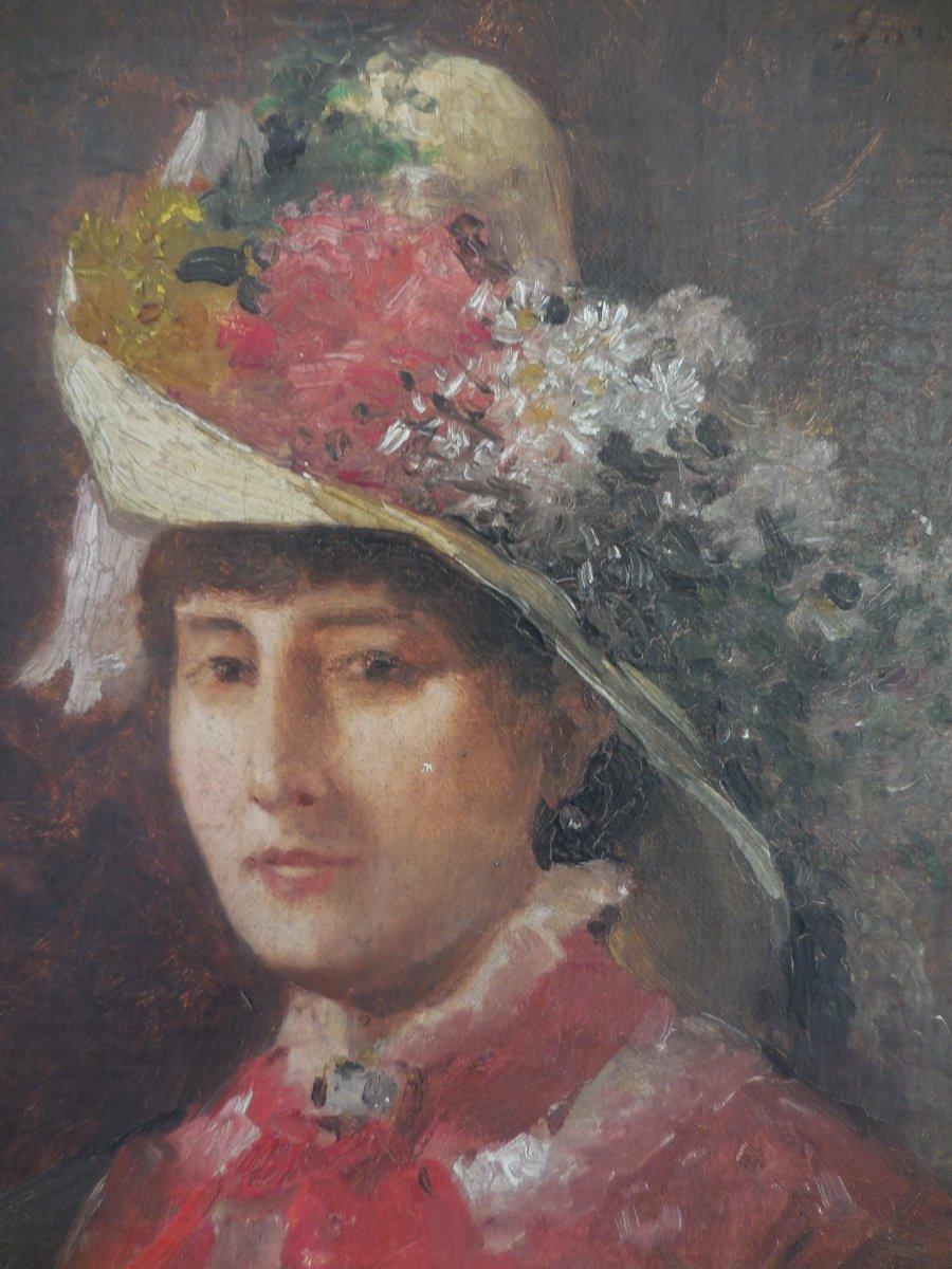 Oil On Canvas French School XIX E Century; Portrait Of Madame De V ... In Hat Sg Apret-photo-3