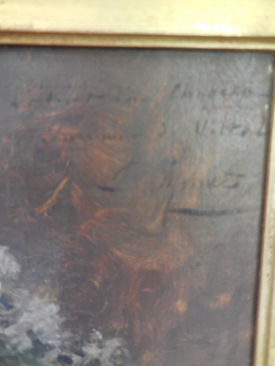 Oil On Canvas French School XIX E Century; Portrait Of Madame De V ... In Hat Sg Apret-photo-4