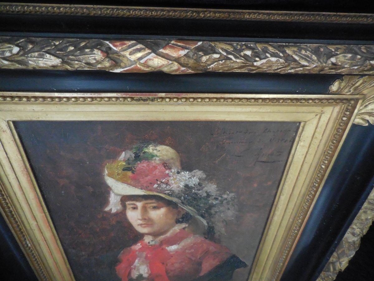 Oil On Canvas French School XIX E Century; Portrait Of Madame De V ... In Hat Sg Apret-photo-1