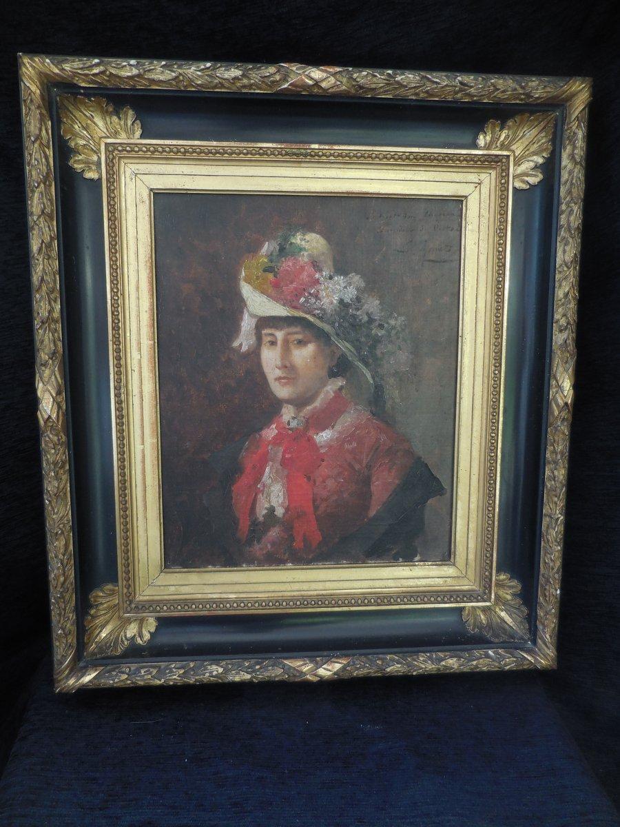 Oil On Canvas French School XIX E Century; Portrait Of Madame De V ... In Hat Sg Apret