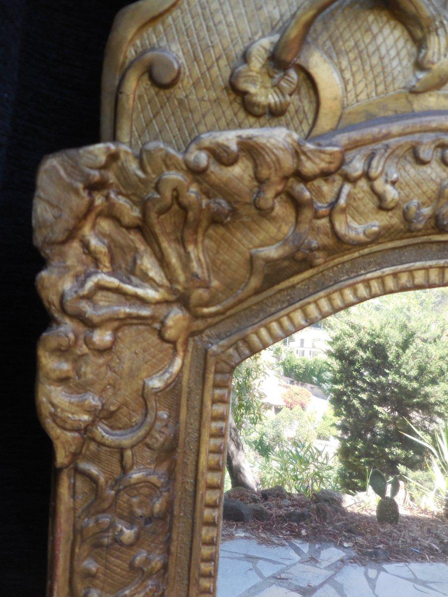 Glace d'époque Régence Bois Sculpté Et Doré  Cadre Bérain/ Phénix  Début XVIIIe-photo-3