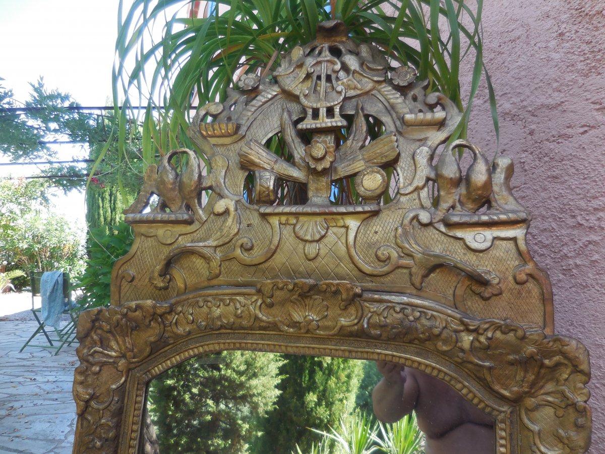 Glace d'époque Régence Bois Sculpté Et Doré  Cadre Bérain/ Phénix  Début XVIIIe-photo-8