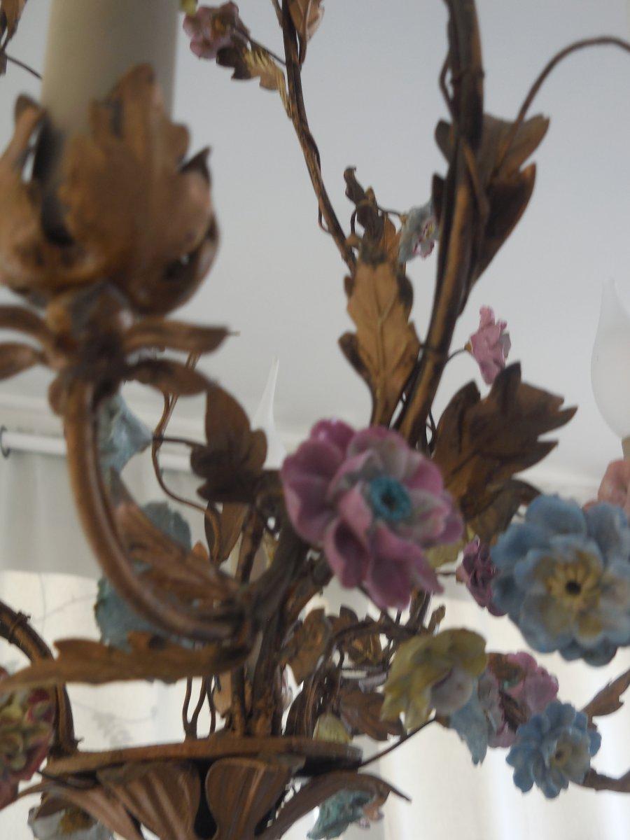 Lustre Cage Fleurs De Porcelaine Et Feuillage Tole Peinte st Louis XV  ép Début XXe  Ht 67cm, +-photo-3