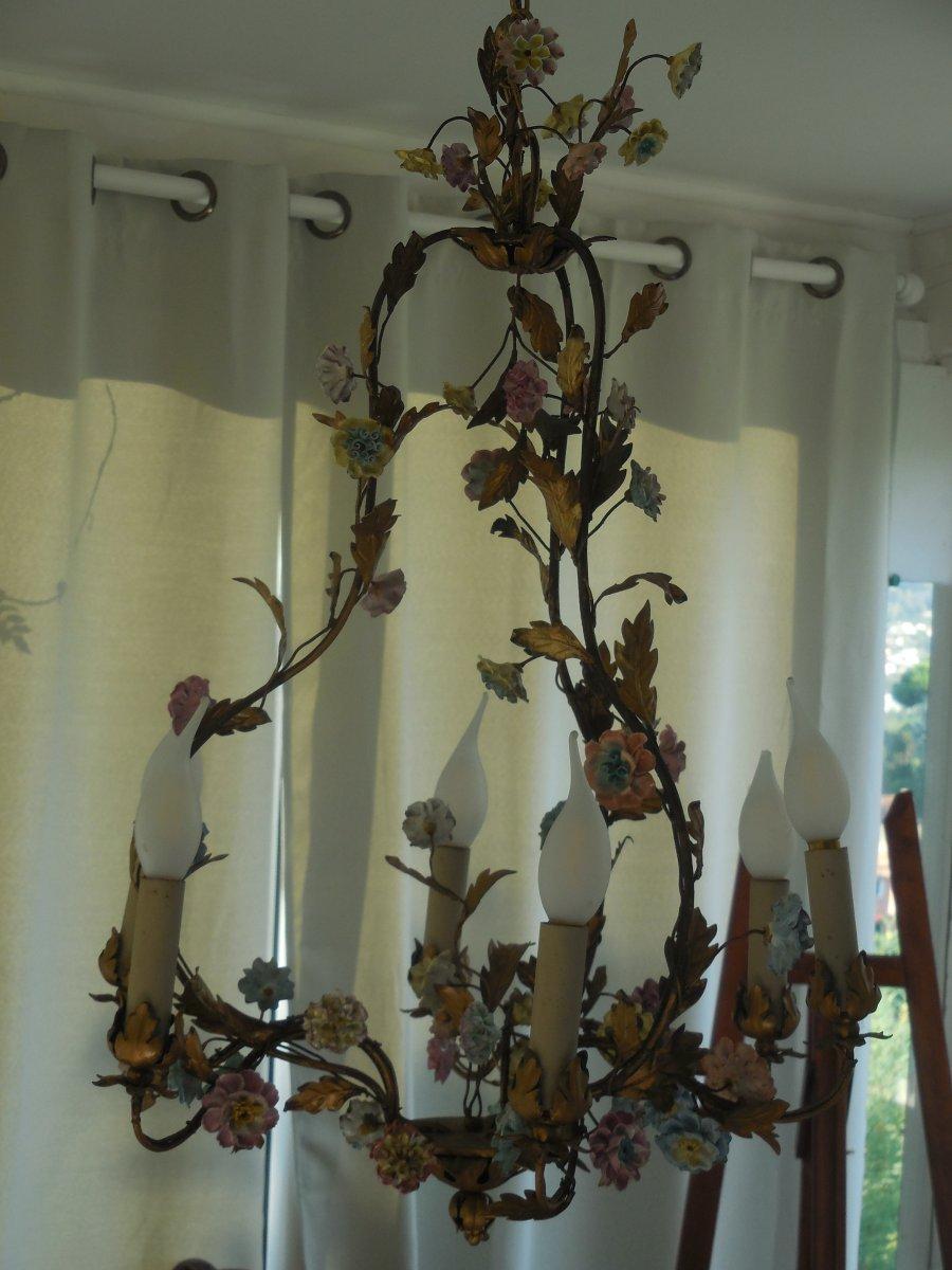 Lustre Cage Fleurs De Porcelaine Et Feuillage Tole Peinte st Louis XV  ép Début XXe  Ht 67cm, +-photo-5