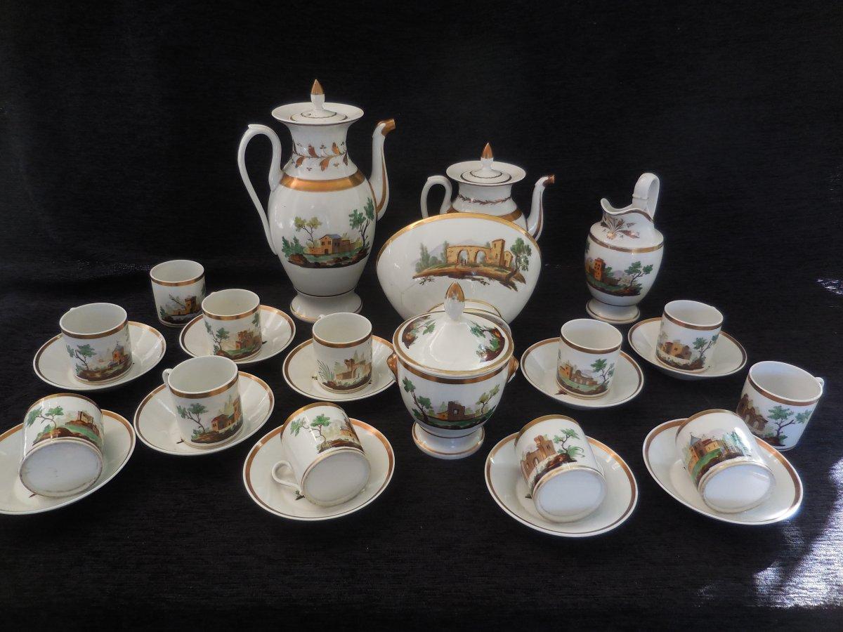Coffee / Tea Service Twelve Cups Porcelain From Paris Restoration Period Good Condition Epxix