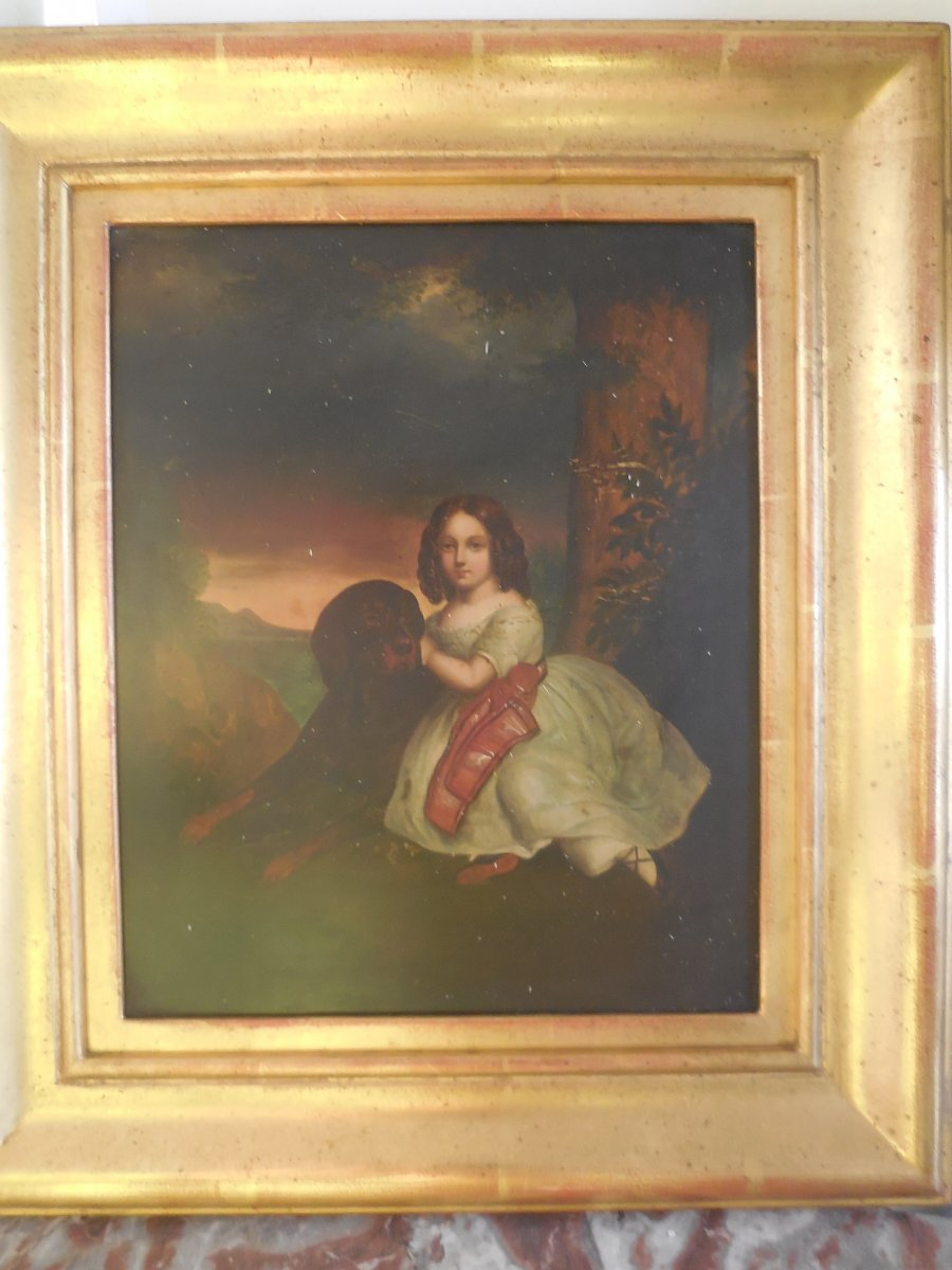Portrait Of Child With Dog French Nineteenth Oil On Copper