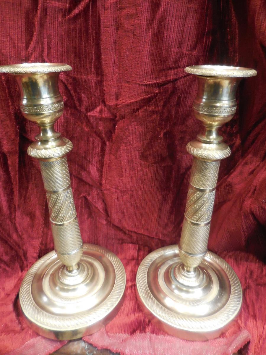 Paire De Bougeoirs En Bronze Doré époque Restauration XIXe