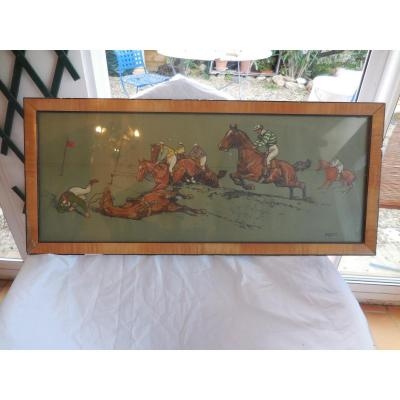 Gouache Polo Signed K Wagner (1890-1974)