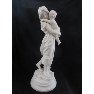 Sculpture En Biscuit La grande soeur sg.Detrier XIXe H T62cm