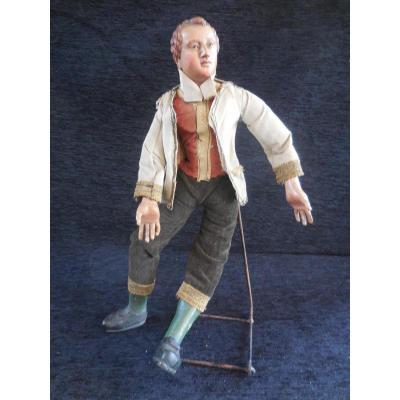 Santon Napolitain Jeune Homme Au Gilet époque XIXème S.