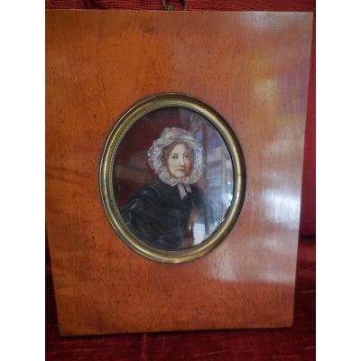 Grande Miniature Sg Acv Lechenetier(1797-1877) Datée1846