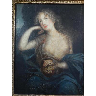 Portrait De Mme De Ludres Suiveur Mignard ép XVIIem H/t
