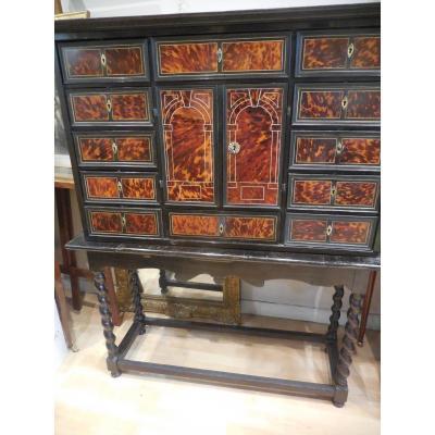 Important Cabinet En  écaille Et Marqueterie époque Louis XIV XVIIeme Siècle