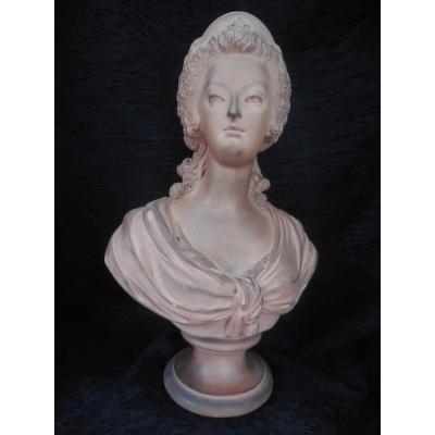 Buste terre cuite de Marie-Antoinette époque XIXeme siècle