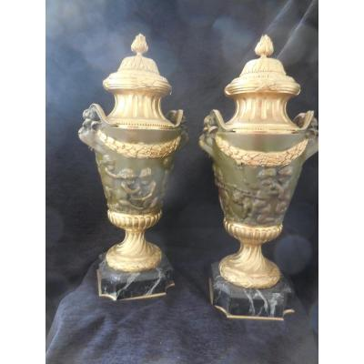Pair Of Vases Covered In Gilt Bronze And Patina After Clodion Period XIXth Century Ht 50cm