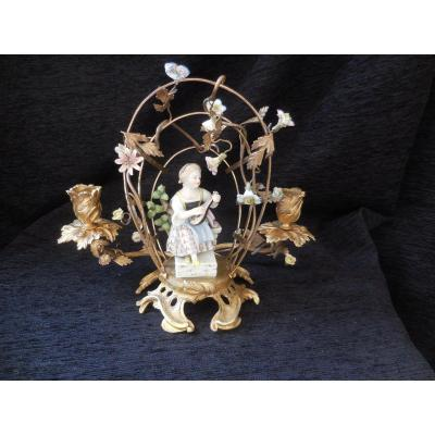 Candlestick In Bronze And Porcelain From Meissen Nineteenth Century