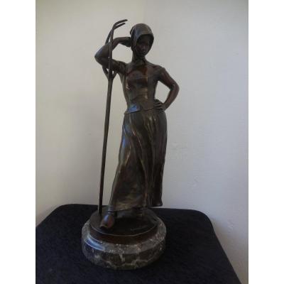 Sculpture Bronze Patiné La Faneuse Signée  Alfred  Boucher Ht 48  Fin XIXe