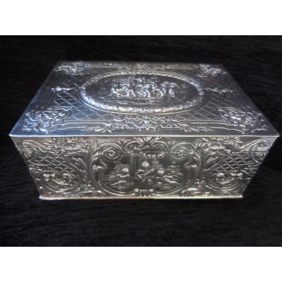Large Solid Silver Box Decor Love Early Twentieth Time Weight 488gr