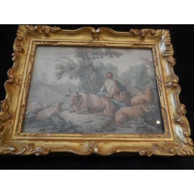 Aquarelle Signée Girardin Et Datée 1784 Pastorale   époque XVIIIe M Cadre Bois Doré