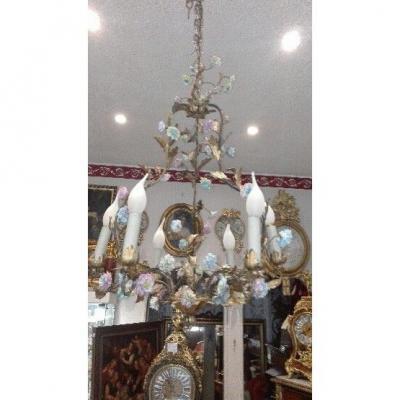 Lustre Cage Fleurs De Porcelaine Et Feuillage Tole Peinte st Louis XV  ép Début XXe  Ht 67cm, +