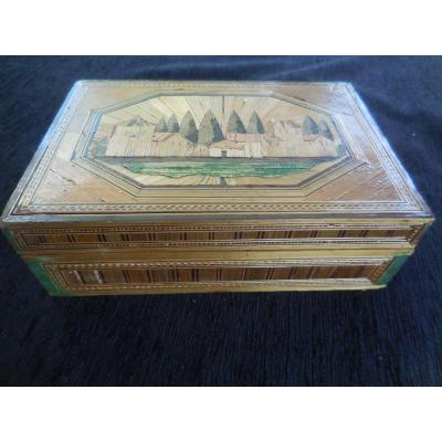 Straw Marquetry Sewing Box XIXth Century