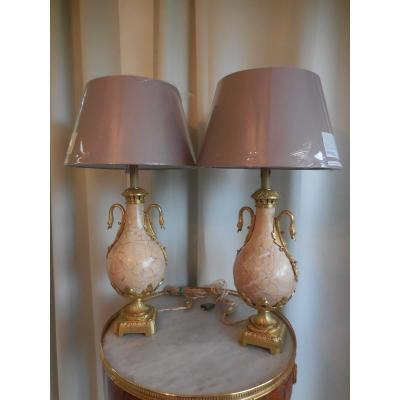 Pair Of Marble And Gilt Bronze Cassolette Lamps Th. Nineteenth