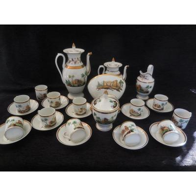 Coffee / Tea Service Twelve Cups Porcelain From Paris Restoration Period Good Condition Epxix