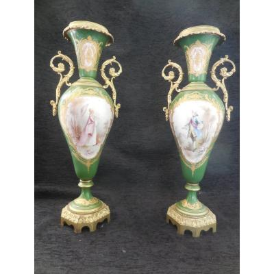 Pair Of Porcelain Vases Mounted Bronze Sèvres Decor 19th Century