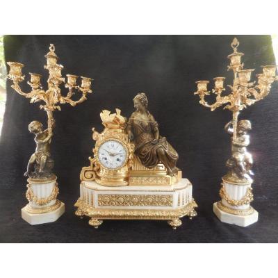 Grande Garniture De Cheminée Bronze Doré Sg Leroy Et Fils Horloger Du Roi à Paris ép XIXe