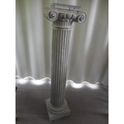 Bolster Column Rudentée Lacquered Wood Louis XVI Ht 124cm