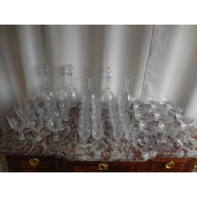 Baccarat Cut Crystal Glasses Service Model Douai Nineteenth Time 53 Pieces Tbe