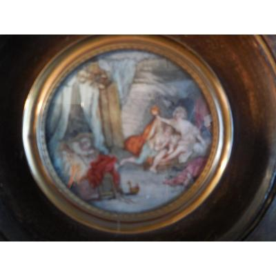 Miniature Gouache On Ivory Representing A Naughty Scene Sg Rolland Late Nineteenth