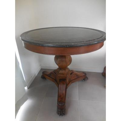 Mahogany Pedestal Table Marble Top Restoration Period Diam80cm Thxix