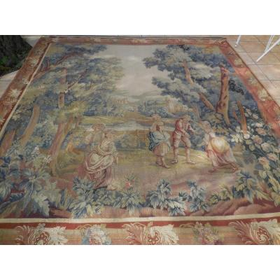 Pair Of Aubusson Royal Manufacture Tapestries Dated 1765 Jbhuet Ep.xviiietbe