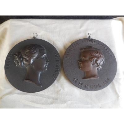 Pair Of Medallions Imp. Eugenie And Prince Napoleon Hardwood Lepage Second Empire Period