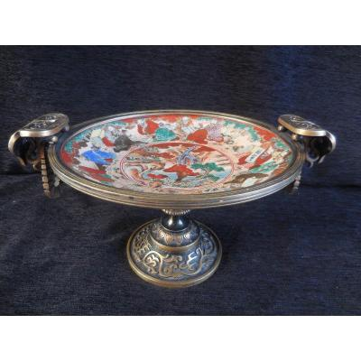 Enameled Imari Faience Cup From Japan Mounted Patinated Bronze Nineteenth Time