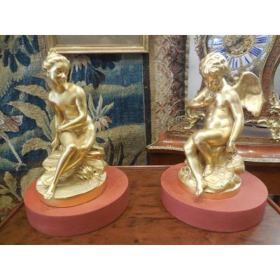 Paire de sujets en bronze doré époque XVIIIe siècle E.M.Falconnet