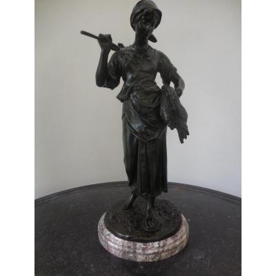"""Sculpture Bronze à patine brune """"La Glaneuse"""" signé E.Aizelin  époque XIX ht 50cm"""