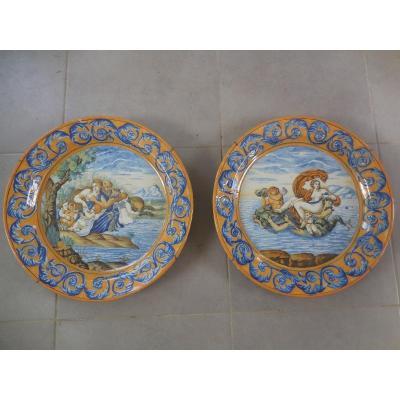 Pair Of Large Dishes In Italian Majolica Amphitrite And Poseidon XIX Be Diam 45cm