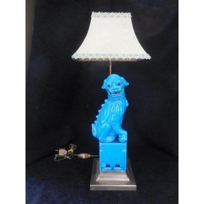 Lamp Subject Dog Of Fo Faience China Mounted Bronze Twentieth