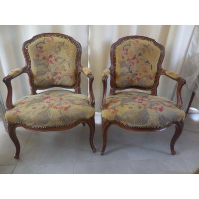 Pair Of Natural Wood Armchairs And Tapestry Louis XV XVIIIth