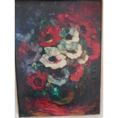 Oil On Cardboard Anemones Signed Louis Pastour Dated 1948