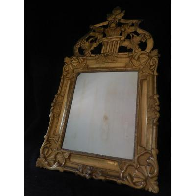 Mirror With Carved And Gilded Wood Pediment Louis XV Eighteenth Century