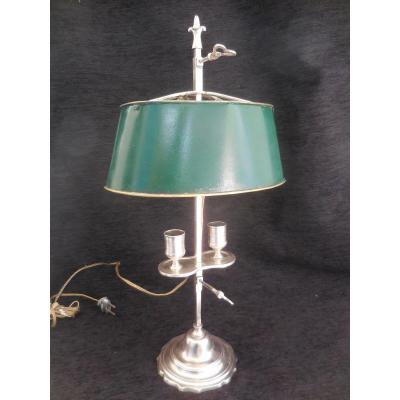 Small Hot Water Bottle Lamp In Silver Bronze With Two Lights From The Beginning Of The Nineteenth Century Ht 47cm