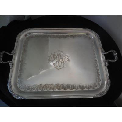 Large Silver Plated Metal Serving Tray Nineteenth Century
